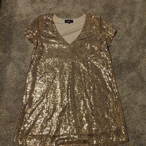 Lulus gold sequin shift dress Large